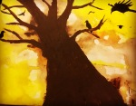 Crows autumnal tree painting