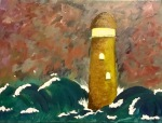 Lighthouse storm waves painting