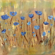Blue flowers Impressionism art painting