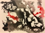 Negative space abstract ink painting
