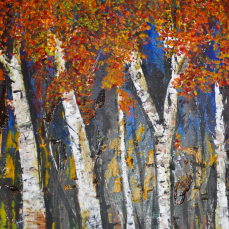 Impressionism birch trees autumn