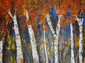Impressionism birch trees autumn