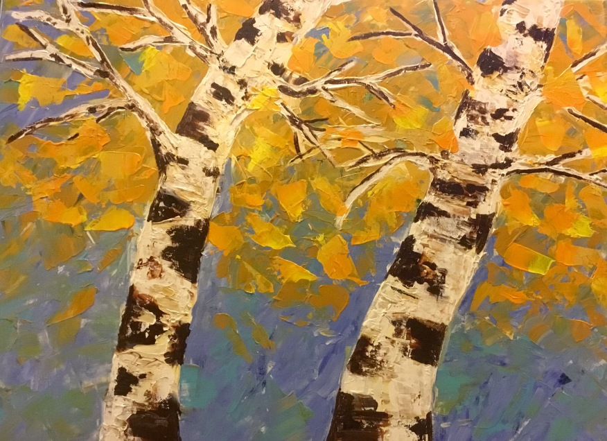 Palette knife painting birch trees autumn
