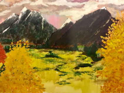 Impressionism mountain autumn landscape painting