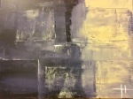 Gray block abstract art painting