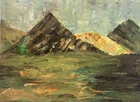 Textured mountain landscape painting sand