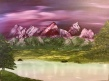 Crimson mountain pond acrylic painting