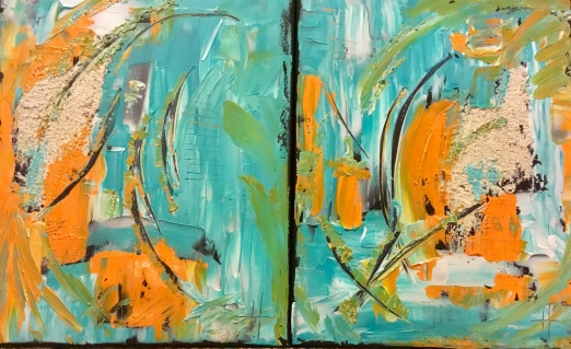 Abstract turquoise orange artwork painting